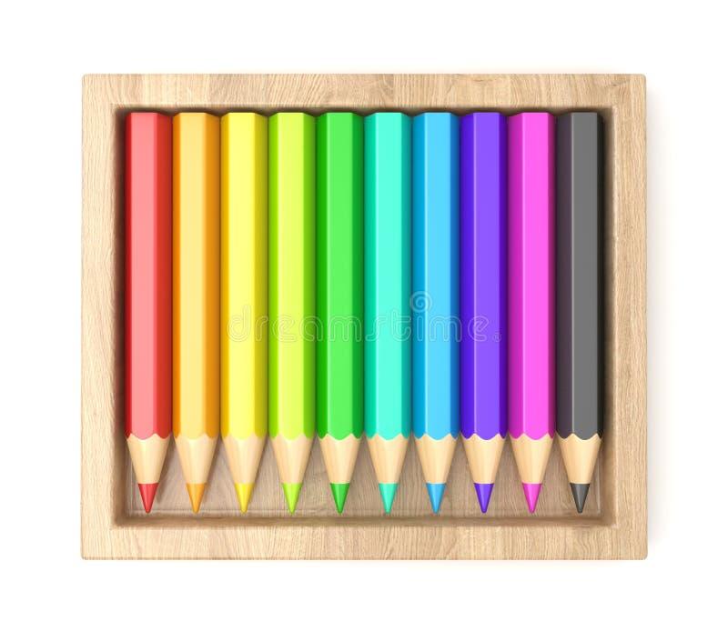 Houten doos met kleurrijke potloden 3d royalty-vrije illustratie