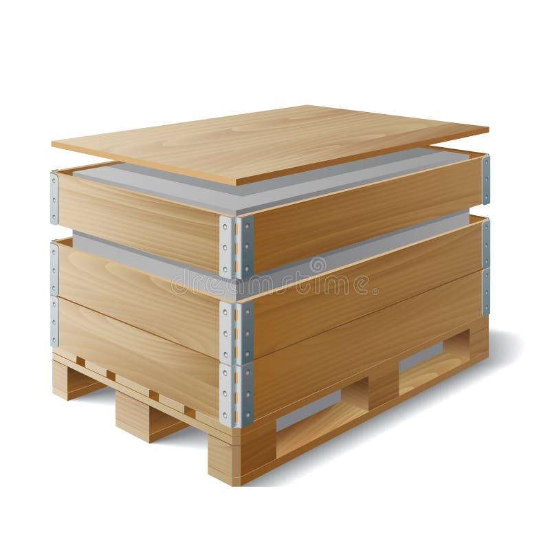 Houten doos met lading op een pallet royalty-vrije illustratie