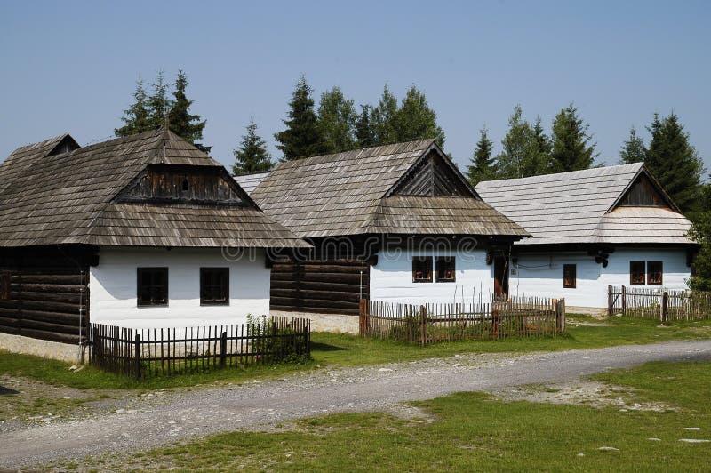 Houten dorp stock foto