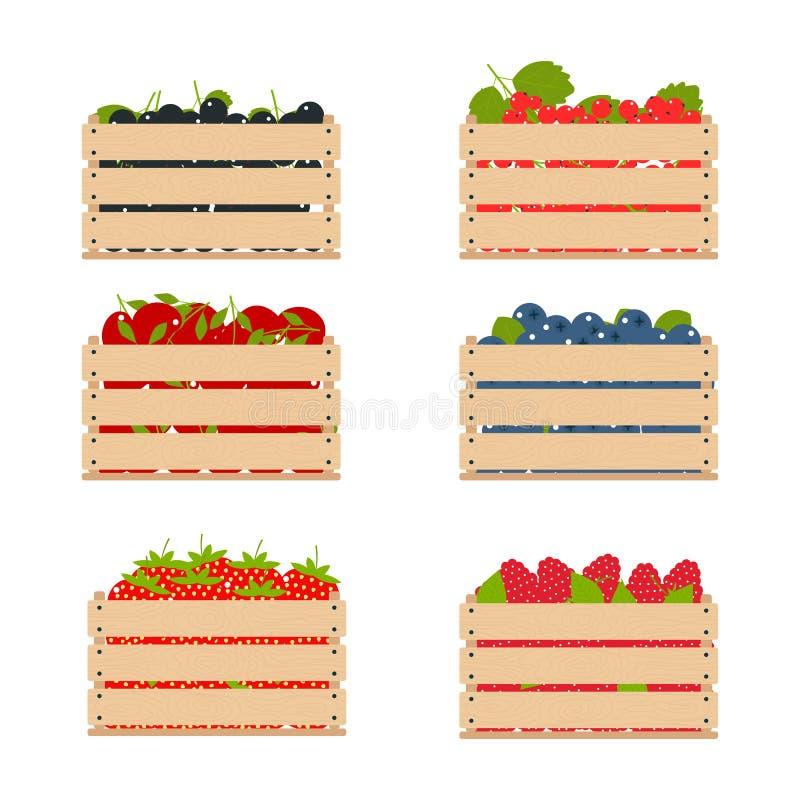 Houten dozen met vruchten die uit het landbouwbedrijf worden bijeengezocht royalty-vrije illustratie