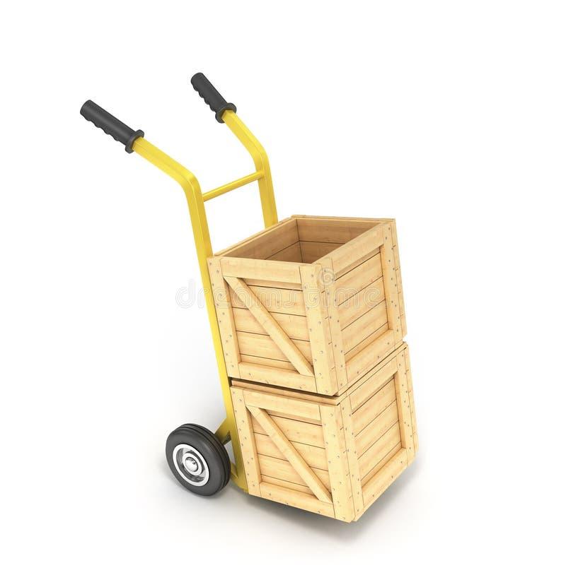 Houten dozen op een handvrachtwagen royalty-vrije stock afbeelding