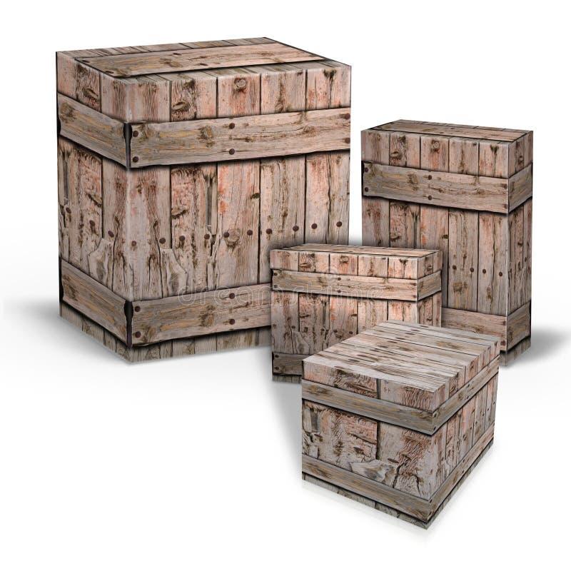 Houten dozen voor de verzending van goederen stock illustratie