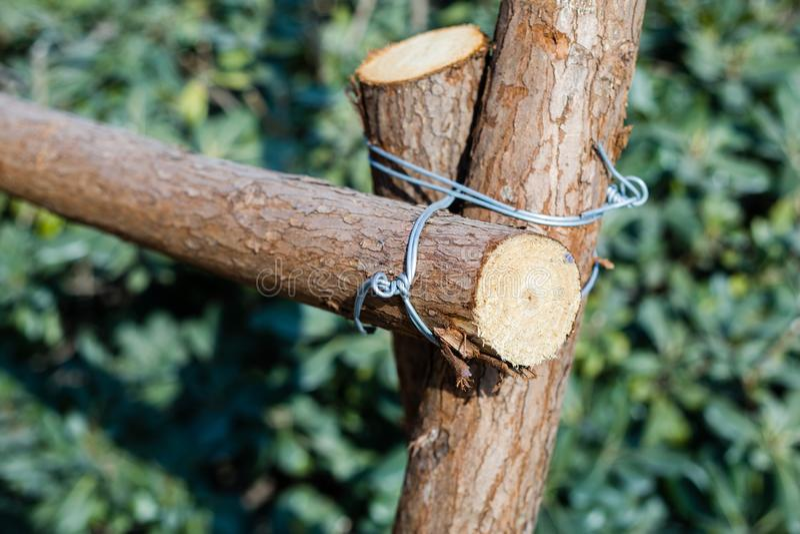 Houten draadverbinding stock afbeelding