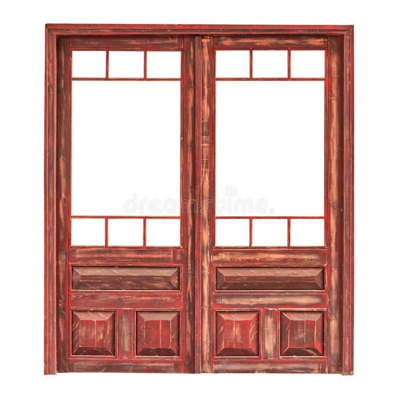 Houten dubbele verglaasde die deur zonder het glas op wit wordt geïsoleerd royalty-vrije stock fotografie