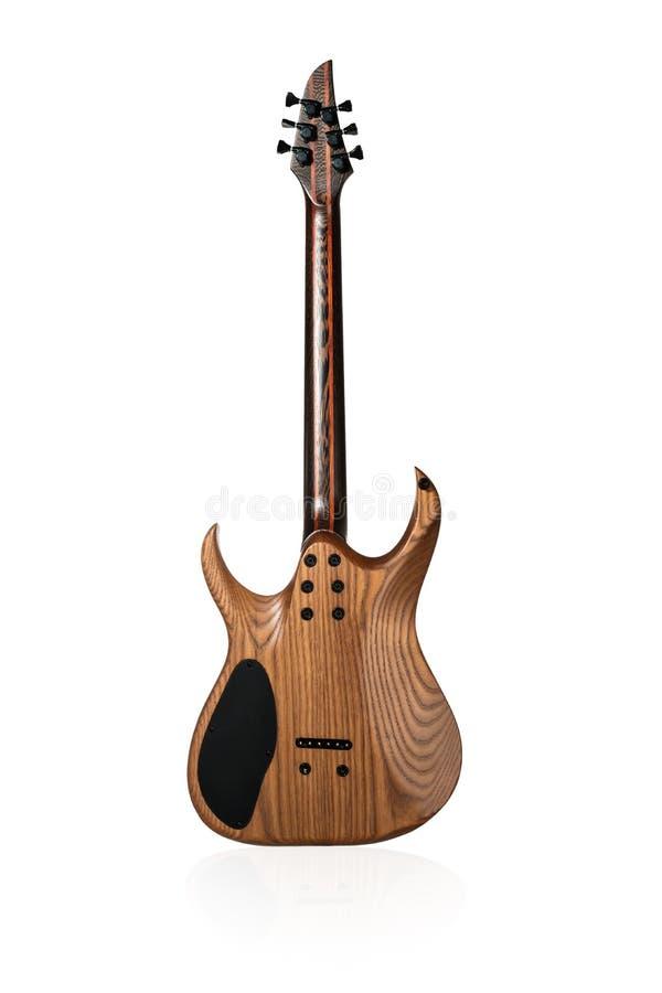 Houten elektrische gitaar achtermening royalty-vrije stock foto's