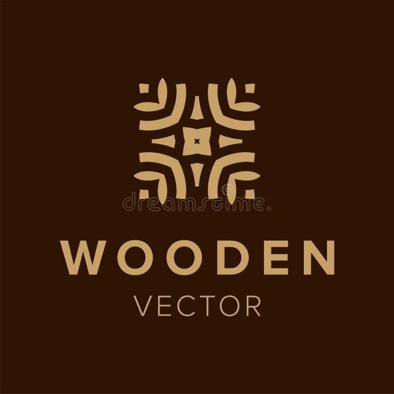 Houten embleemontwerp Creatief symboolelement voor zaken Malplaatje in pictogram royalty-vrije illustratie