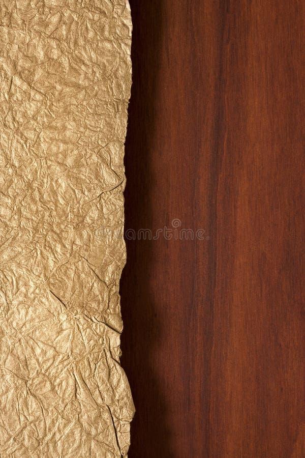 Houten en Gouden Achtergrond stock afbeeldingen