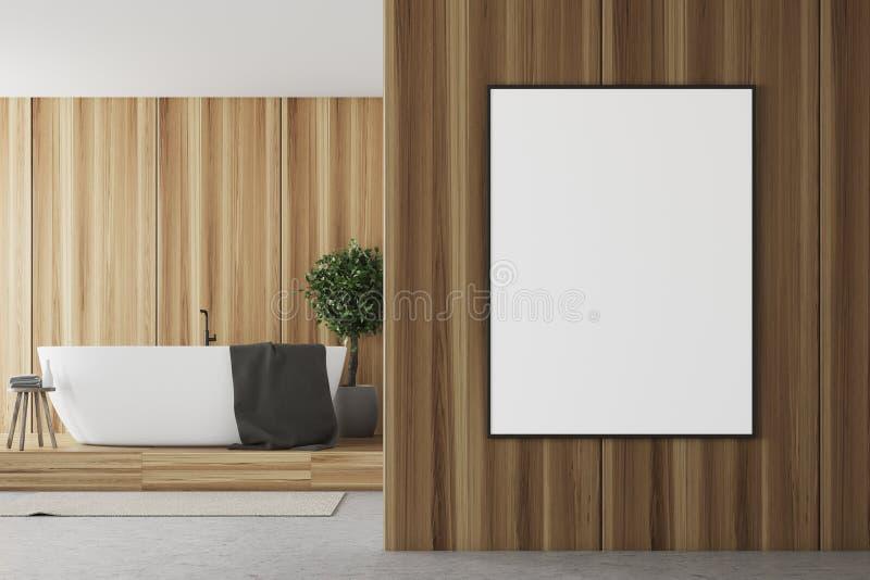 Houten en witte badkamers, ton en affiche dichte omhooggaand royalty-vrije illustratie