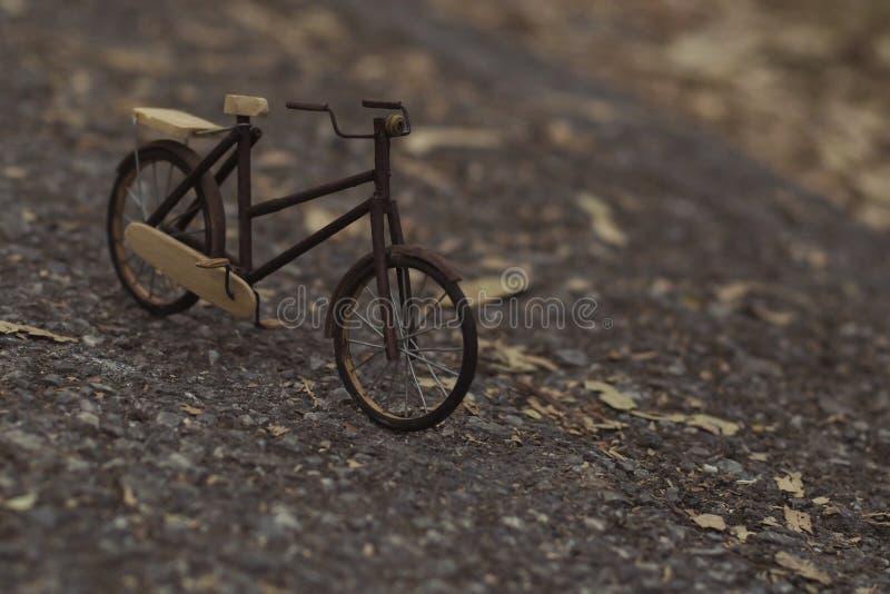 Houten fiets in Park Uitstekend met de hand gemaakt stuk speelgoed vervoersbeeld royalty-vrije stock fotografie
