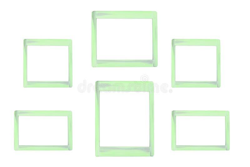 Houten fotokader als geïsoleerde achtergrond stock foto's