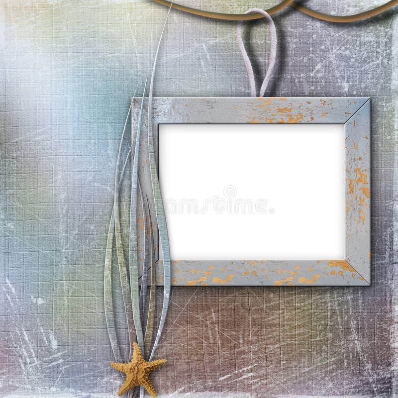 Houten frame voor foto, op de abstracte achtergrond stock illustratie