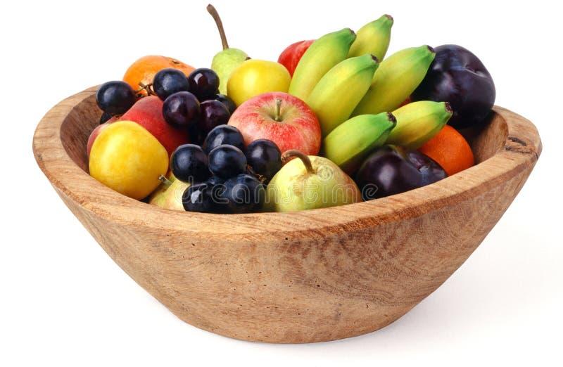 Houten fruitkom royalty-vrije stock foto's