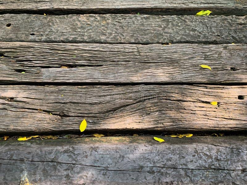 Houten gang en geel bloemblaadje stock foto