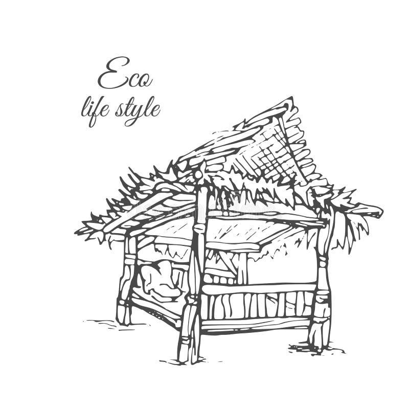 Houten gazebo met met stro bedekt dak in schetsstijl vector illustratie
