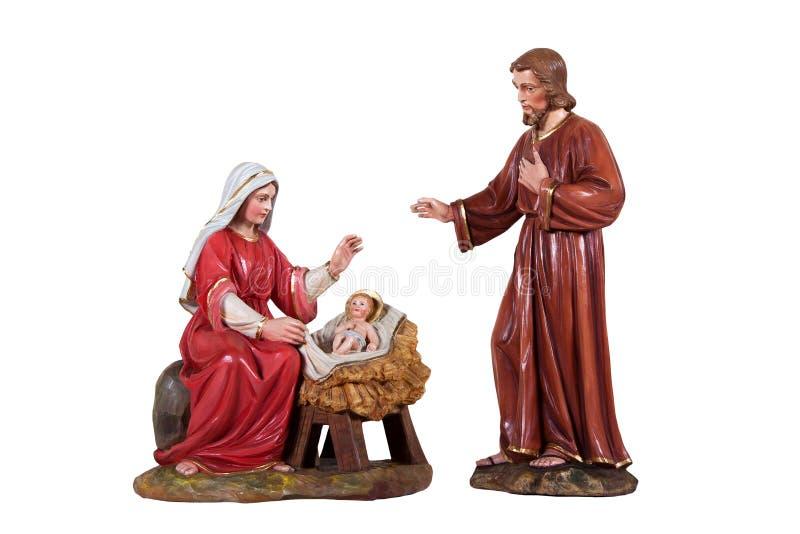 Houten geboorte van Christusscène stock afbeeldingen