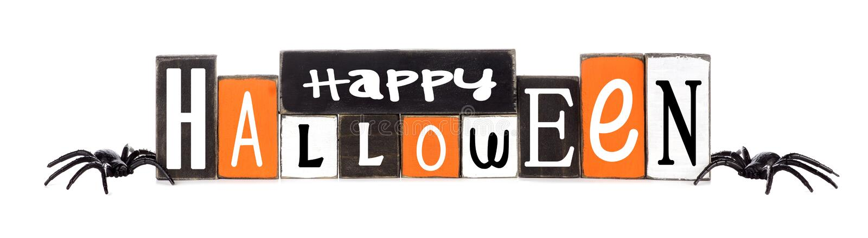 Houten Gelukkig die Halloween-teken op wit wordt geïsoleerd royalty-vrije stock foto's