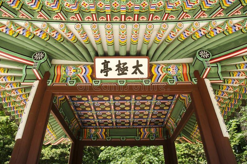 Houten geschilderd paleis dat Seoel Zuid-Korea bouwt stock foto
