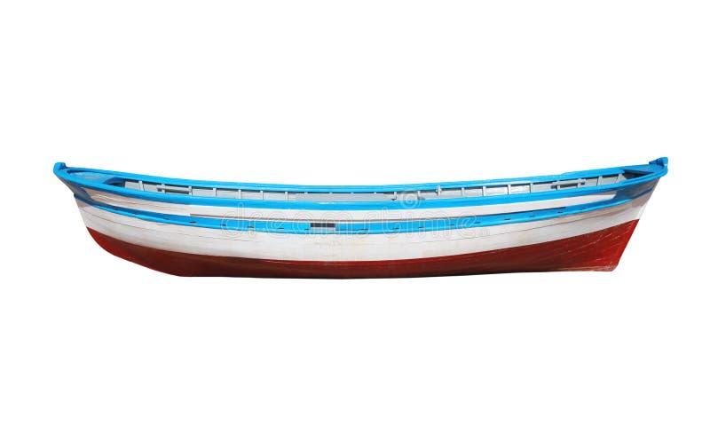 Houten geschilderde die boot op witte achtergrond wordt geïsoleerd stock afbeeldingen
