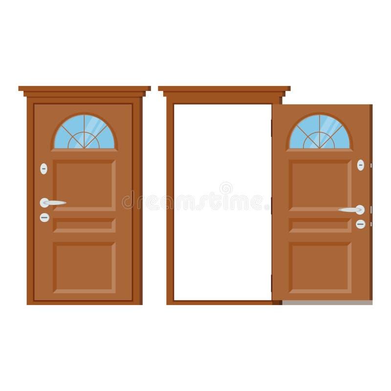 Houten gesloten en open ingangsdeur met kader vector illustratie
