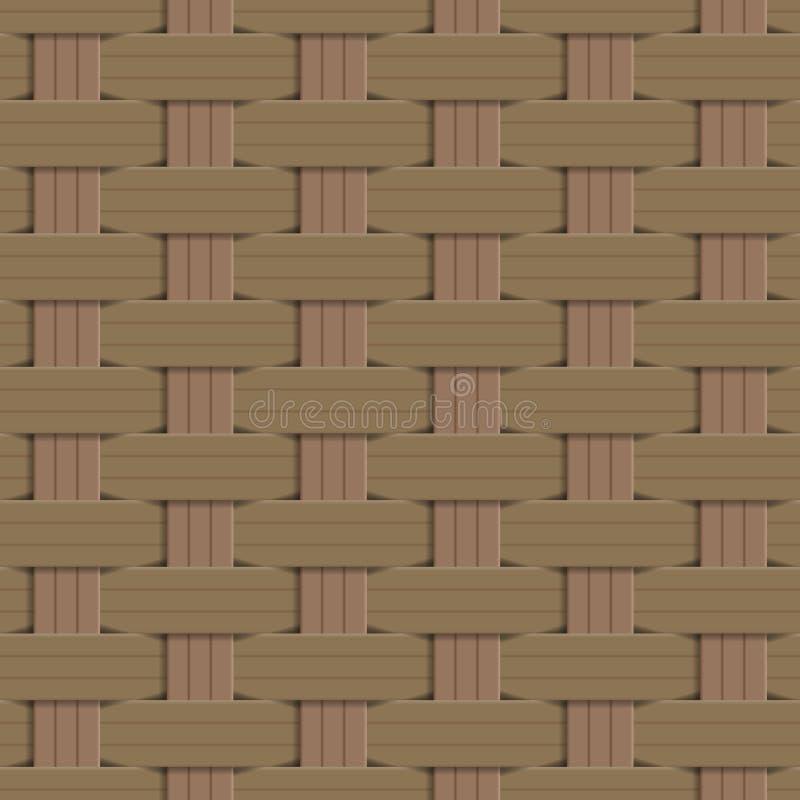 Houten gestreepte geweven achtergrond, Rieten patroon, het patroon van het Mandweefsel, Naadloze patroonachtergrond royalty-vrije illustratie