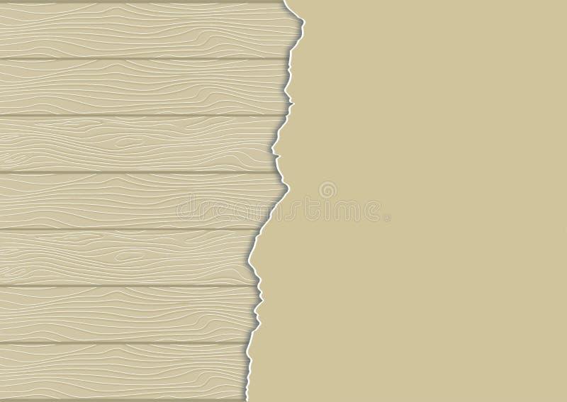 Houten geweven achtergrond met gescheurd document blad vector illustratie