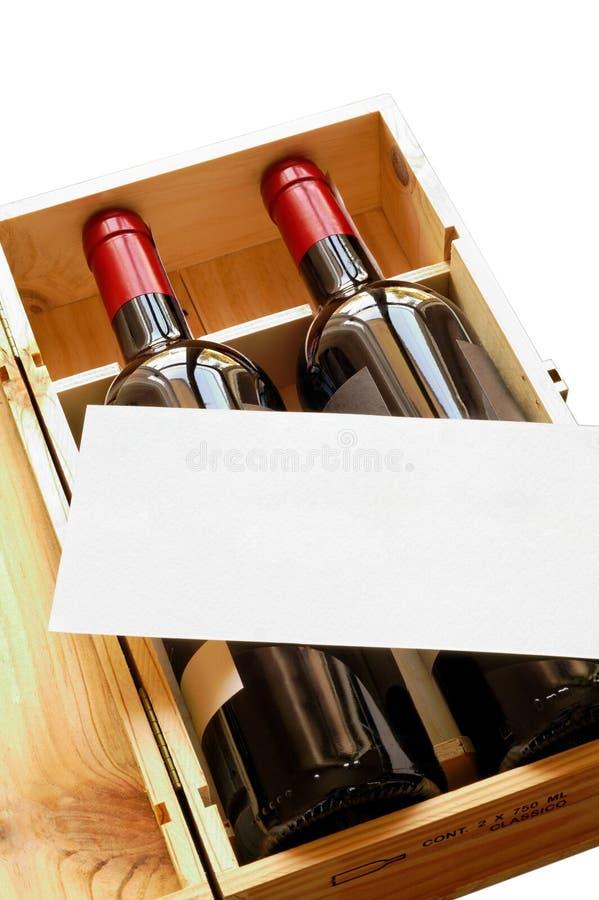 Houten giftdoos met twee wijnflessen royalty-vrije stock afbeelding