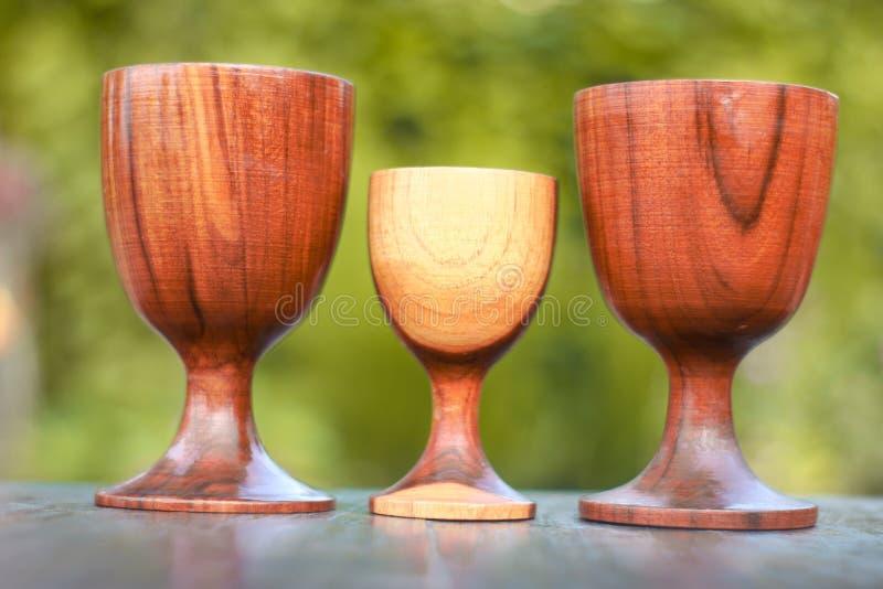 Houten glas drie stock afbeeldingen