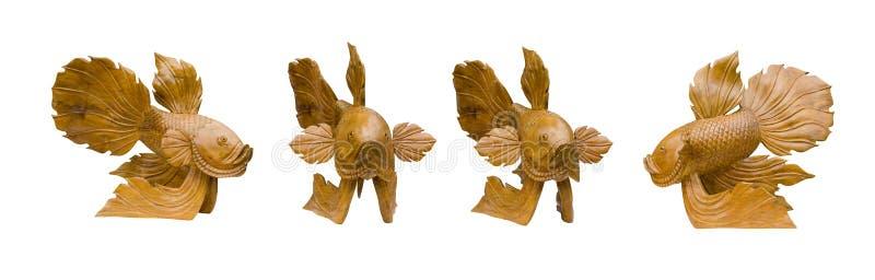 Houten goudvis voor geïsoleerde huisdecoratie royalty-vrije stock foto's