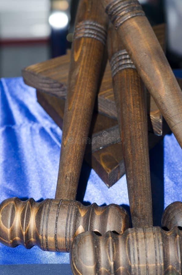 Houten hamers royalty-vrije stock afbeeldingen