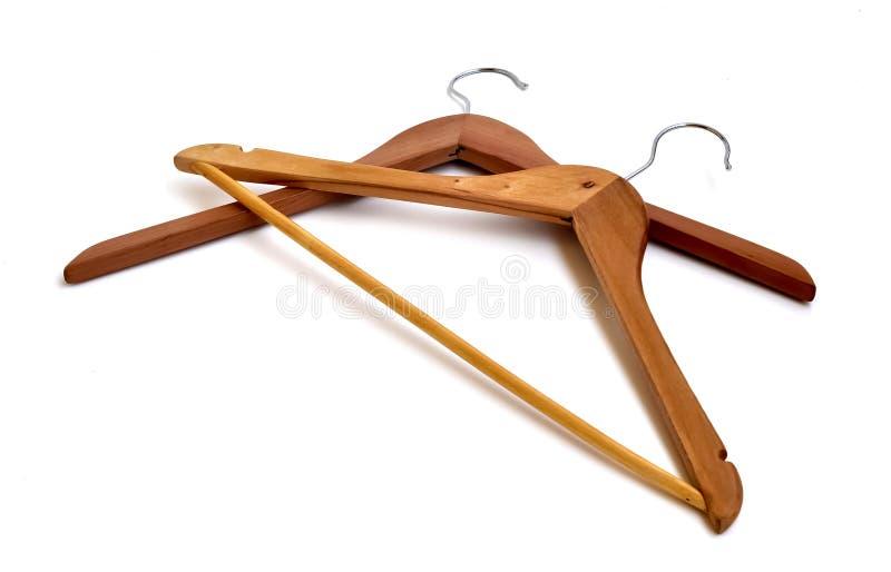 Houten hangers royalty-vrije stock foto