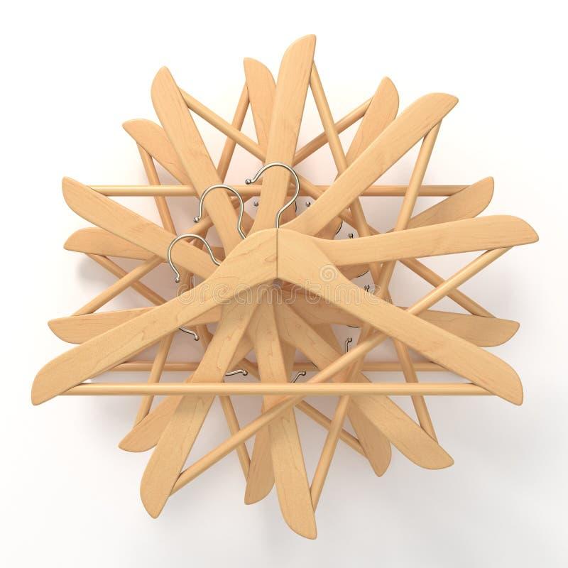 Houten hangers, geschikte ster 3d royalty-vrije illustratie