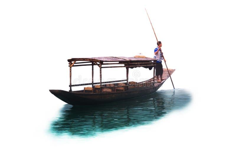 Houten het bamboedak van de rijboot met de peddelstok van de mensenholding op witte achtergrond royalty-vrije stock afbeeldingen