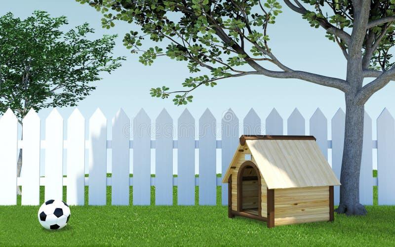 Houten hondkennel onder boomschaduw op groene grasweide met voetbalbal en witte houten omheining royalty-vrije illustratie