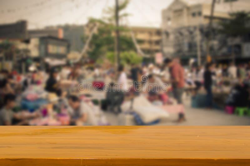 houten hoogste lijst Vage het Lopen Straatmarkt royalty-vrije stock afbeelding