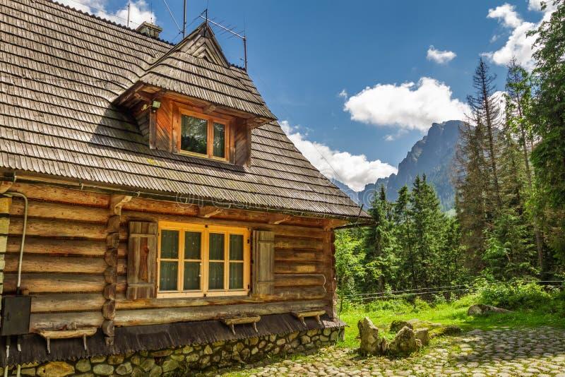 Houten houtvesterplattelandshuisje in de bergen stock fotografie