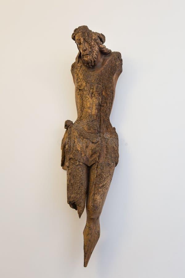 Houten Jesus Little Statue Remains in Clerigos-Kerk in Porto, royalty-vrije stock afbeeldingen