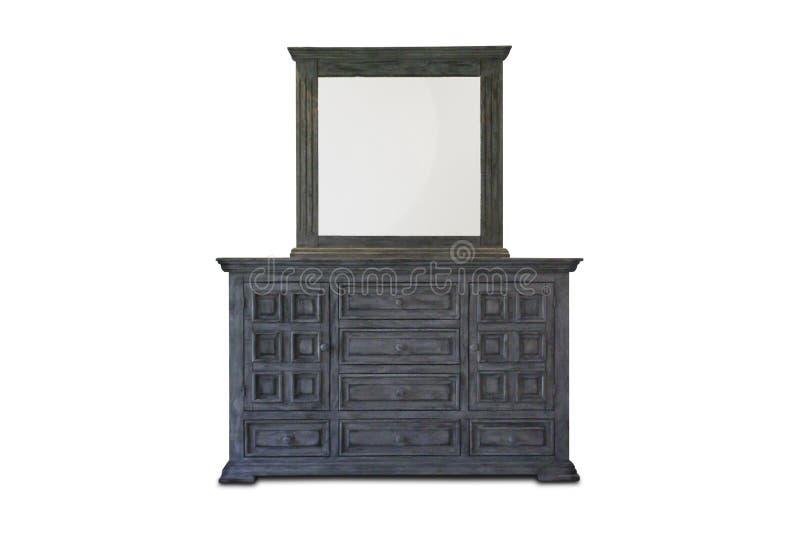 Houten kabinet, bevindende lamp en bloemvaas met het uitstekende binnenland van het fotokader royalty-vrije stock foto's