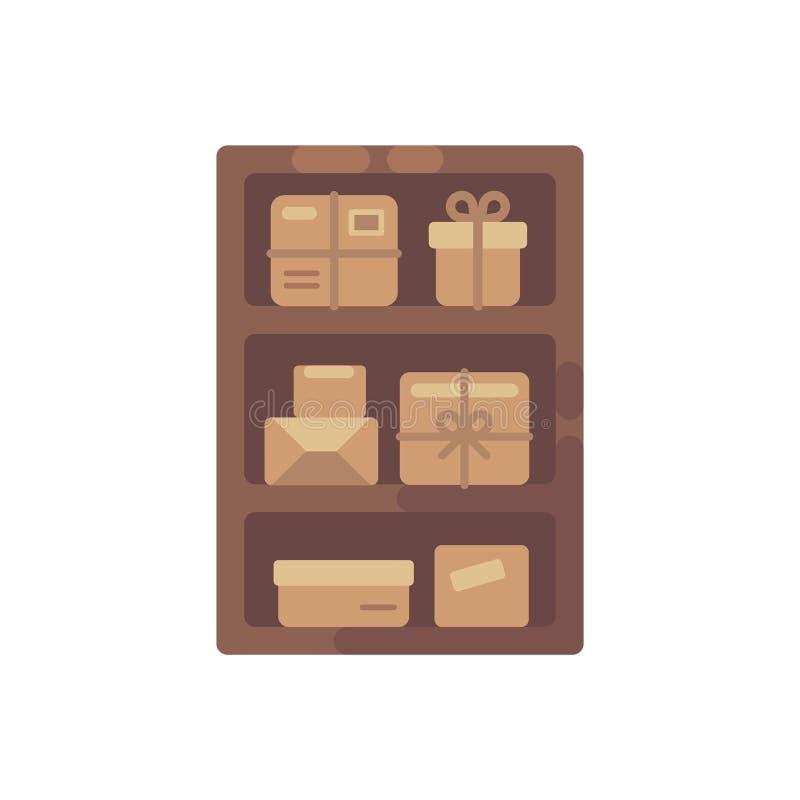 Houten kabinet met bruine dozen Het oude vlakke pictogram van de pakketopslag stock illustratie