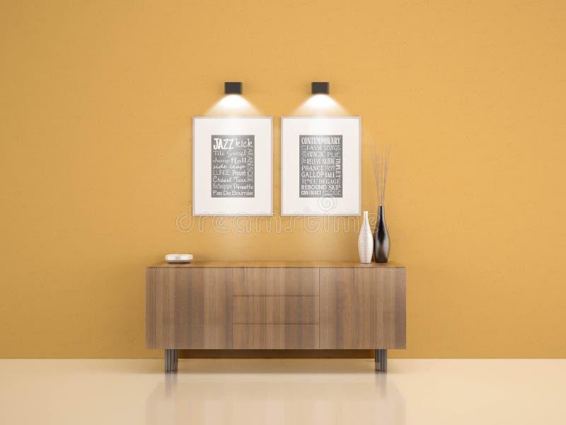Houten kabinet op gele muur met 2 kaders en vaaswoonkamer w royalty-vrije illustratie