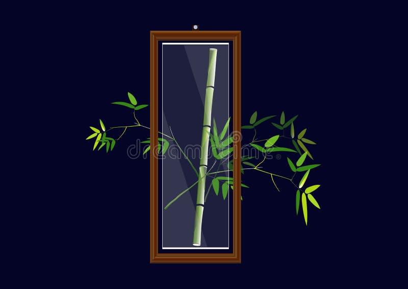 houten kader met glasbamboe in de bekendheid, Vectorillustratie stock illustratie