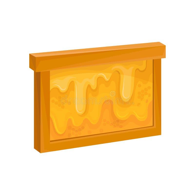Houten kader met honingraat Zoete honing die neer stromen Natuurlijk en gezond landbouwproduct Bijenstalsymbool Vlakke vector stock illustratie