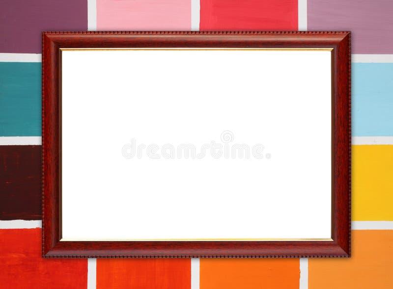 Houten kader op houten muur royalty-vrije stock afbeelding