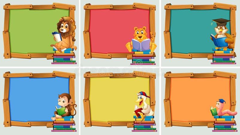 Houten kaders met dieren die boeken lezen royalty-vrije illustratie