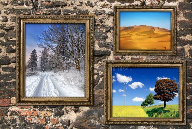 Houten kaders met mooie landschappen stock afbeelding