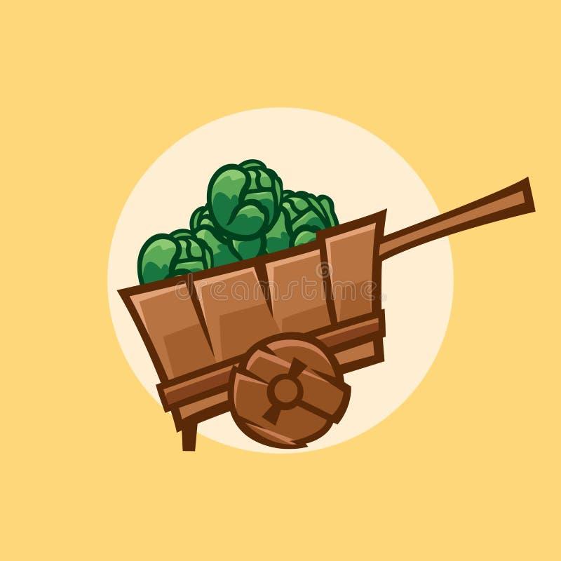 Houten kar met kolen, illustratie royalty-vrije illustratie