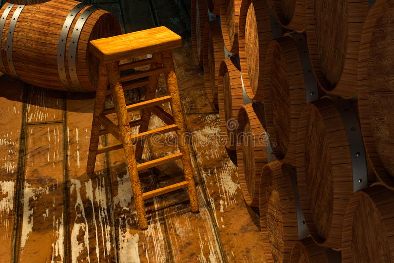 Houten kelder met binnen vaten, uitstekend drankpakhuis, het 3d teruggeven royalty-vrije illustratie