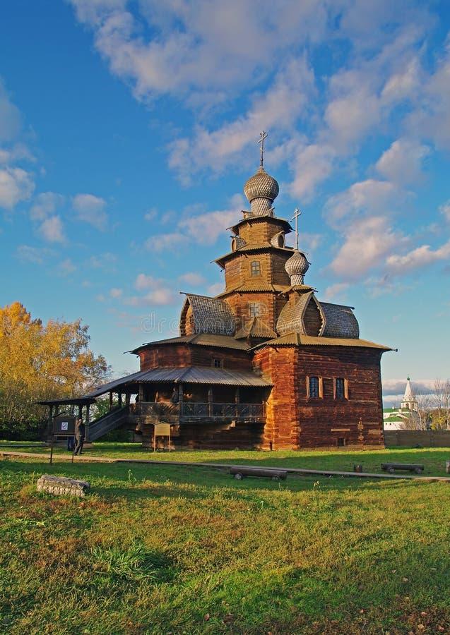 Houten kerk in het museum Suzdal. royalty-vrije stock fotografie