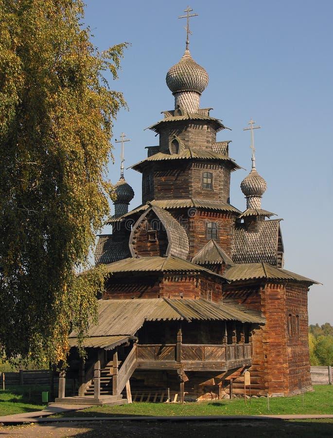 Houten kerk in het museum Suzdal royalty-vrije stock foto's