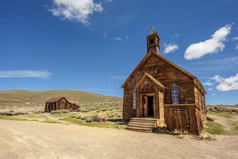 Houten kerk in Lichaamsspookstad, Californië royalty-vrije stock foto