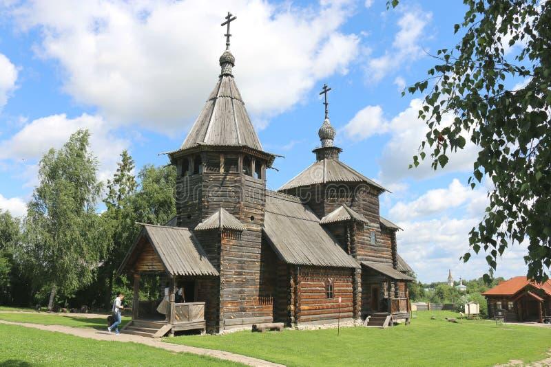 Houten kerk in Suzdal royalty-vrije stock foto's